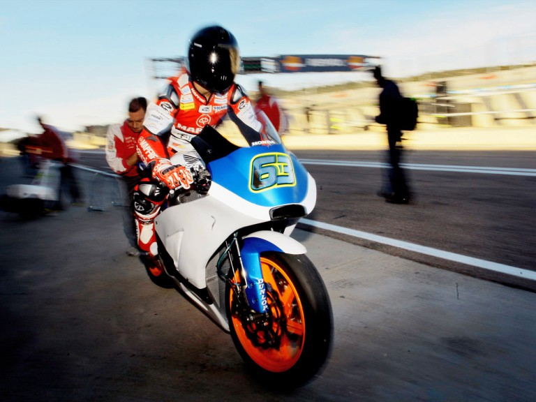Mike di Meglio riding the BQR Moto2 bike at Valencia