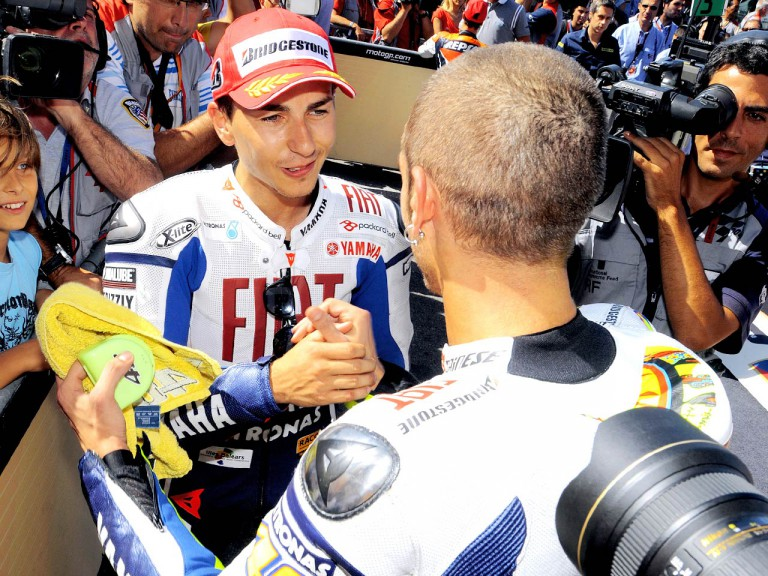Yamaha´s Rossi and Lorenzo in the parc fermé