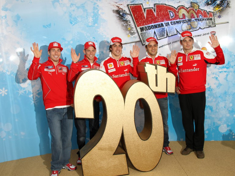 Wrooom 2010 - Ducati Marlboro's Hayden and Stoner with Scuderia Ferrari Marlboro drivers Alonso, Massa and Fisichella