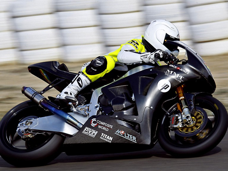 Sergio Gadea testing the Pons Kalex Moto2 bike in Almeria