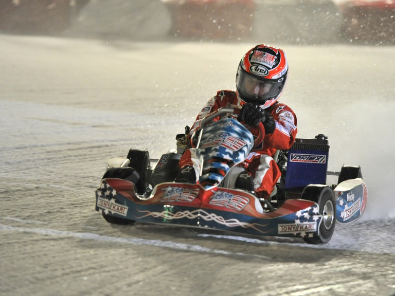 Hayden racing on ice at Madonna di Campiglio