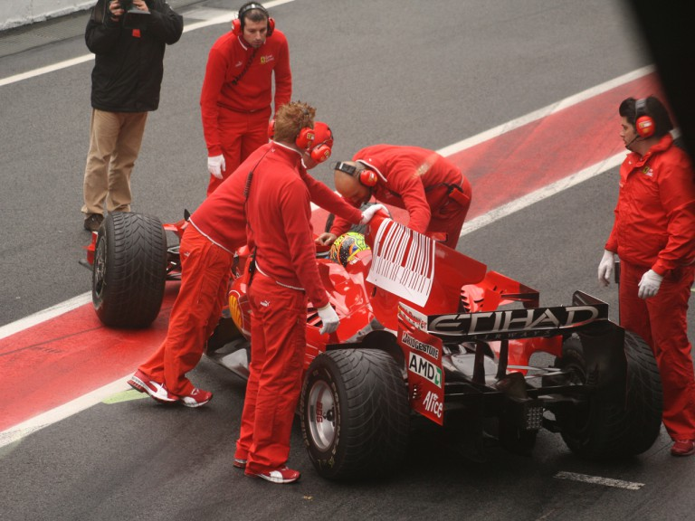 Valentino Rossi testing with Ferrari at the Catalunya Circuit