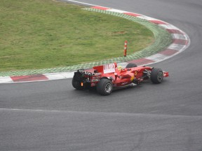Valentino Rossi testing with Ferrari at Catalunya