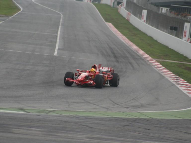 Rossi testing at Catalunya with Ferrari