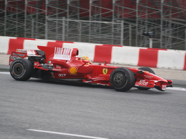 Rossi testing at Catalunya with Ferrari