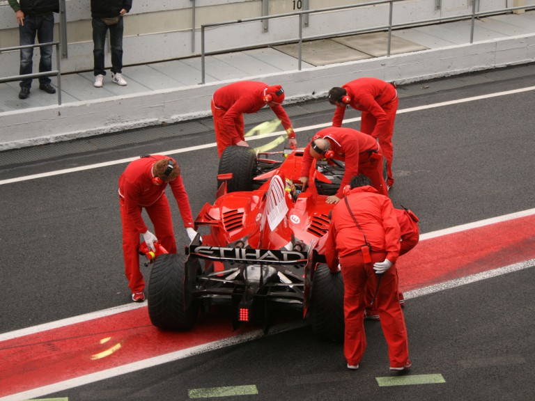 Valentino Rossi with the Scuderia Ferrari in Montmeló