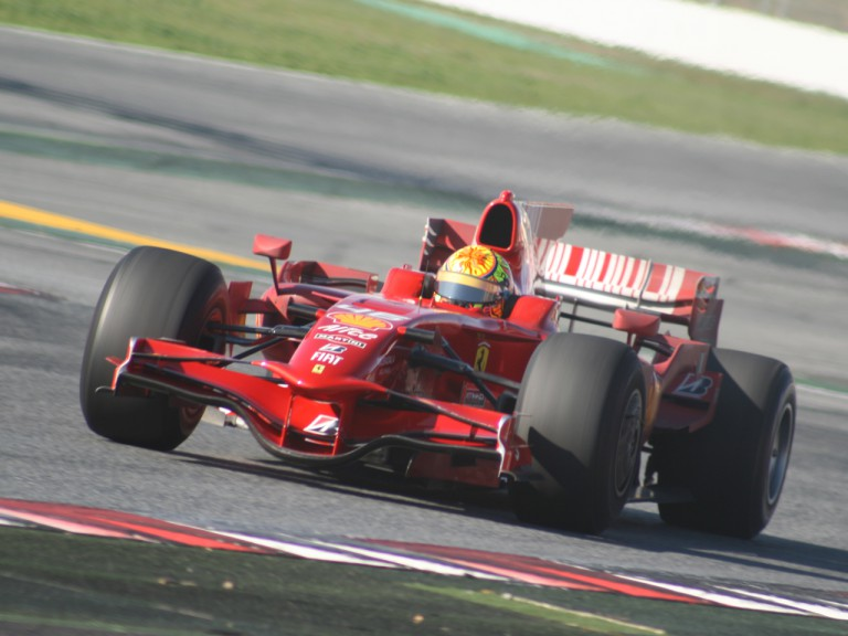 Valentino Rossi in action with Ferrari's F2008 at the Catalunya Circuit
