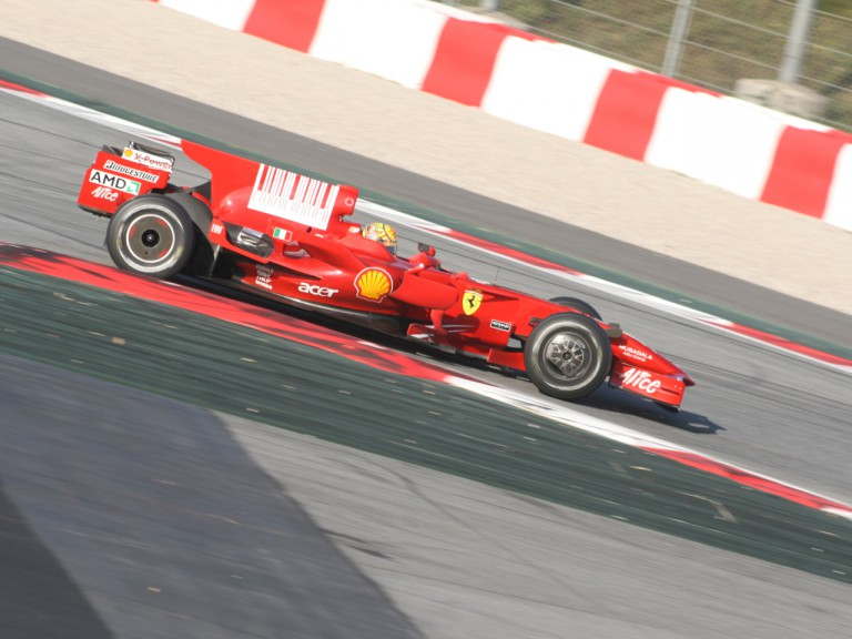 Valentino Rossi on track with the F2008 Ferrari at Montmeló