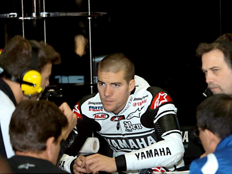 Ben Spies in the Monster Yamaha Tech3 garage