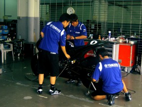 Fiat Yamaha garage at Sepang test
