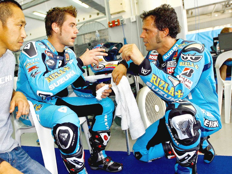 Rizla Suzuki´s Bautista and Capirossi at the Sepang test