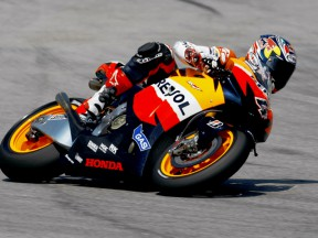 Dovizioso in action at the Sepang test