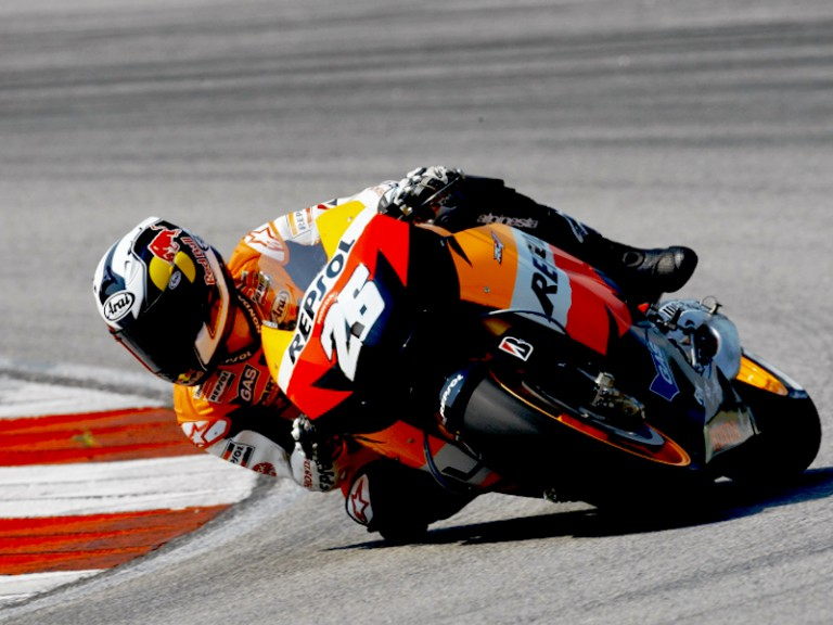 Pedrosa in action at the Sepang test