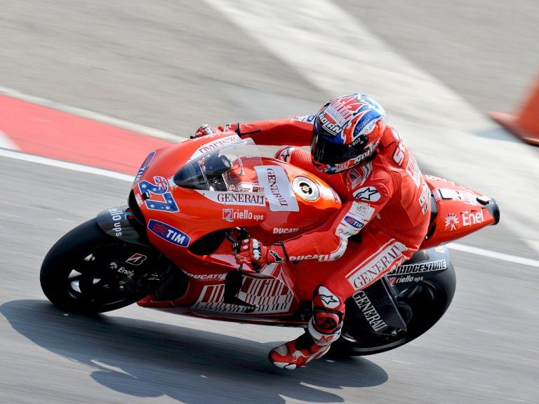 Stoner in action at the Sepang test