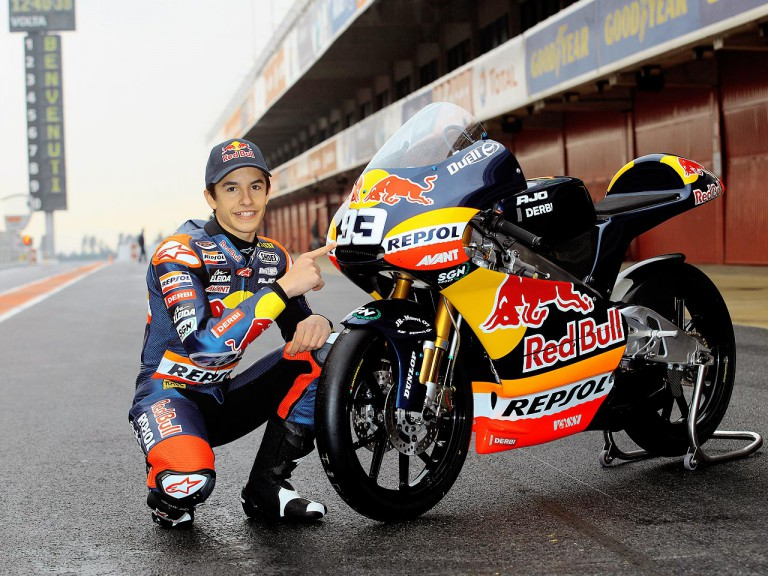 Marc Marquez presents bike at Catalunya test