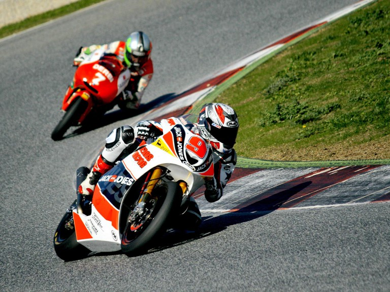 Kenny Noyes and Efren Vazquez in action at the Catalunya test