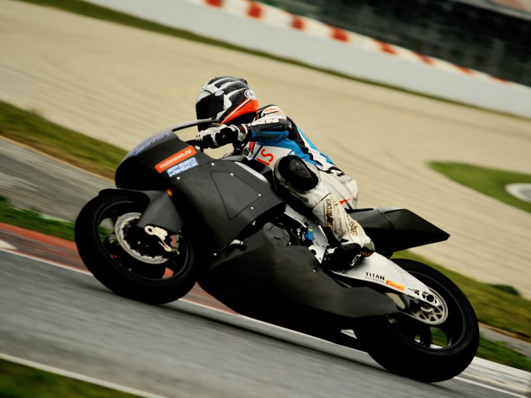 Vladimir Leonov in action at the Catalunya test