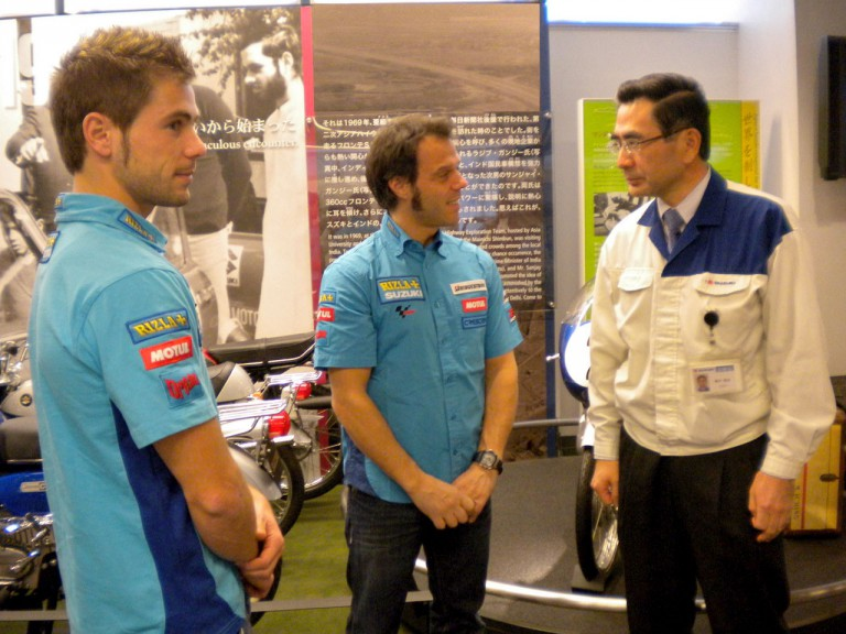 Capirossi and Bautista visit Suzuki factory