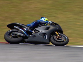 Yamaha test rider at the Sepang test