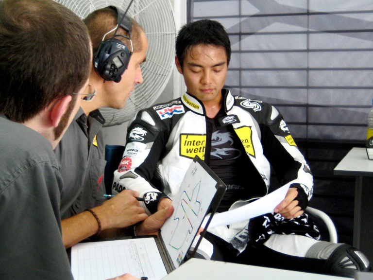 Hiroshi Aoyama in the Interwetten garage at the Sepang test