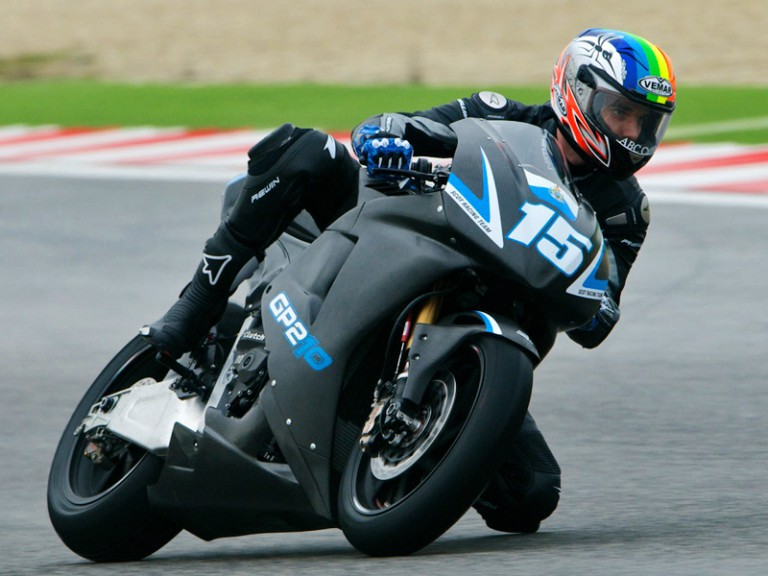 Alex de Angelis in action at Misano test