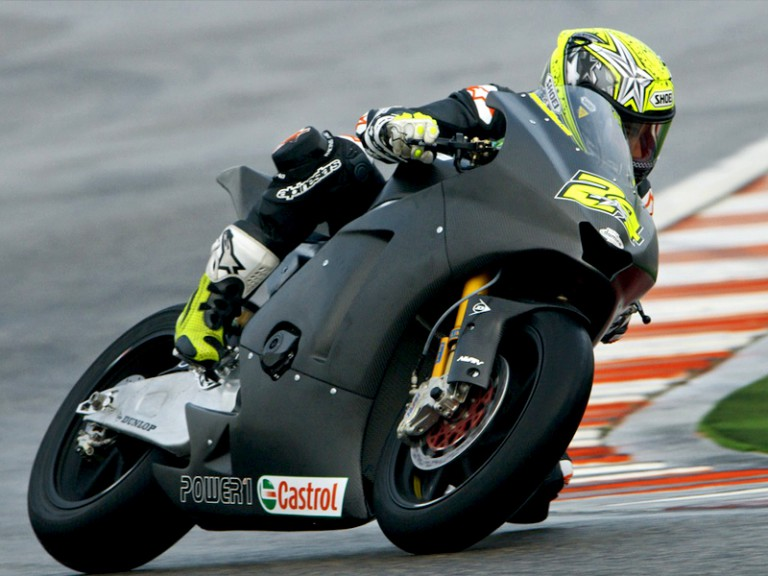 Toni Elias in action at the Moto2 test in Misano