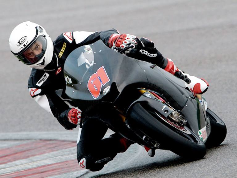 Vladimir Ivanov in action at the Moto2 test in Misano