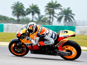 Dani Pedrosa in action at the Sepang test