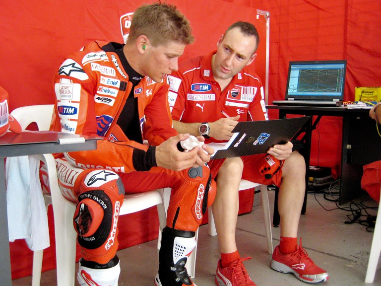 Casey Stoner in the Ducati garage at the Sepang test