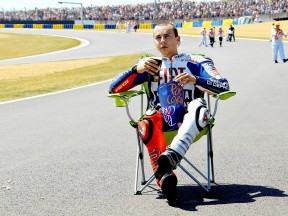 Jorge Lorenzo celebrates GP win in Le Mans