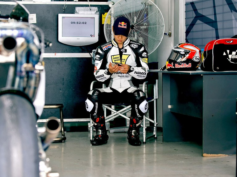 Hiroshi Aoyama in the Interwetten garage