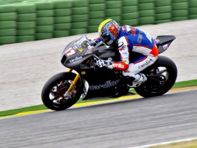 Karel Abraham in action at the Valencia test