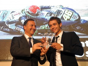 Italian Foreign Minister Franco Frattini and MotoGP World Champion Valentino Rossi at the Villa Madama