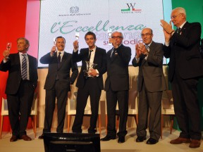 Giacomo Agostini, Foreign Minister Franco Frattini, Valentino Rossi, FIM's Vito Ippolito and Dorna CEO Carmelo Ezpeleta