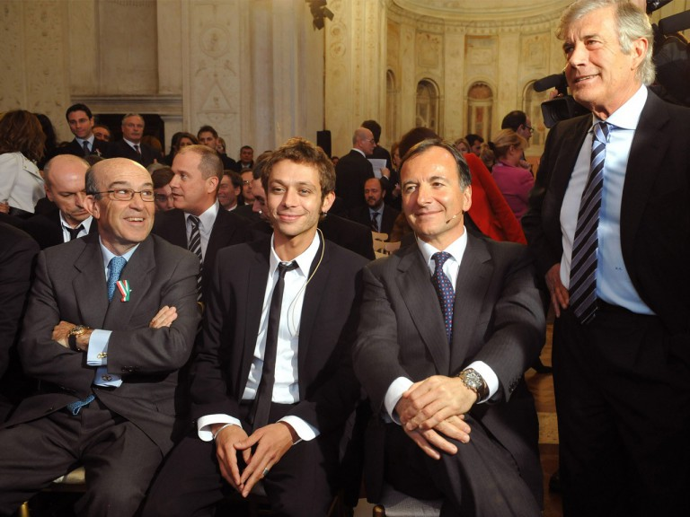 Giacomo Agostini, Foreign Minister Franco Frattini, Valentino Rossi and Dorna CEO Carmelo Ezpeleta