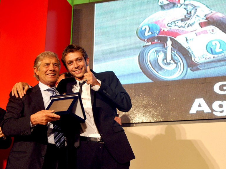 MotoGP Legend Giacomo Agostini and MotoGP World Champion Valentino Rossi at the Villa Madama