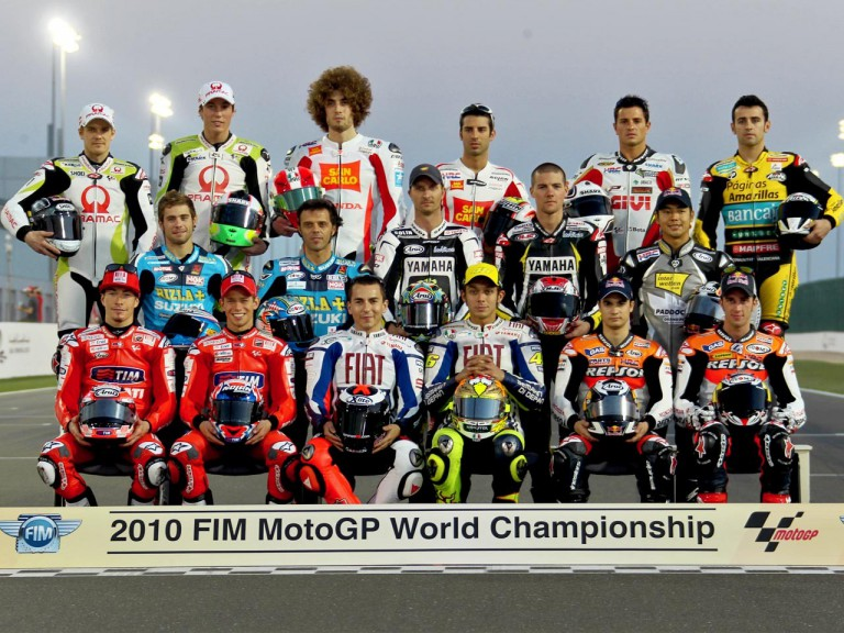 The 2010 MotoGP line-up at the Qatar Official Test