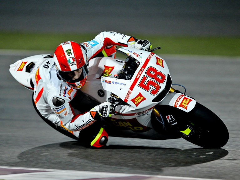 Action shot of Marco Simoncelli