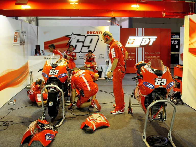 Hayden staff at the Ducati garage