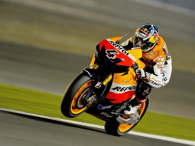 Action shot of Dovizioso at the Qatar test