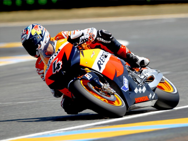 Andrea Dovizioso in action in Le Mans