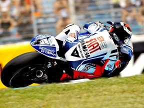 Jorge Lorenzo in action during FP1 in Jerez
