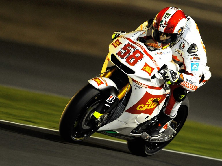 Marco Simoncelli in action an the Qatar test