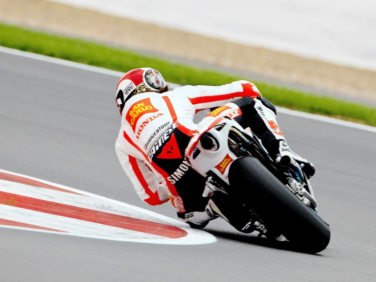 Marco SImoncelli in action in Silverstone