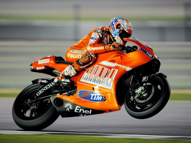 Action shot of Casey Stoner at the Qatar test