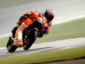 Action shot of Casey Stoner at Qatar test