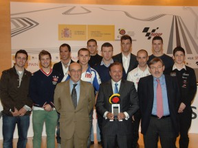 Spanish MotoGP riders alongside Dorna Sports and Spanish Tourism Ministry representants