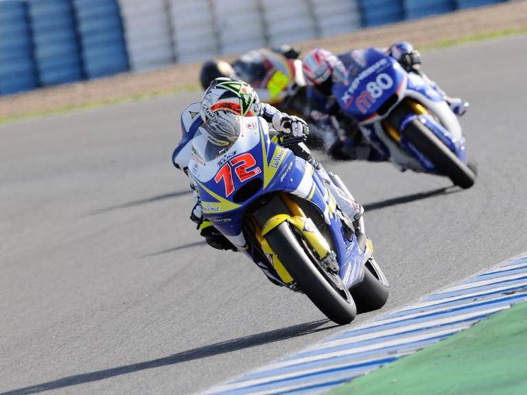 Takahashi riding ahead of Pons and Redding at the Jerez test