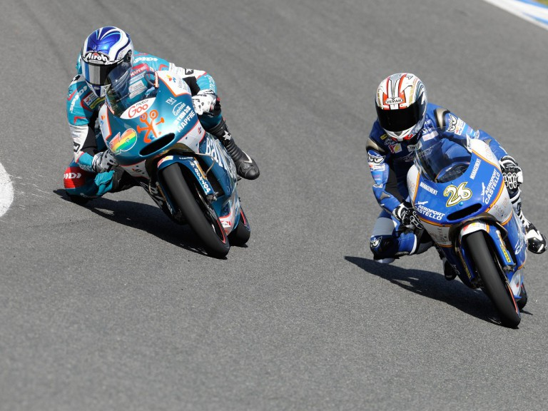 Nico Terol and Adrián Martín in action at the Jerez test