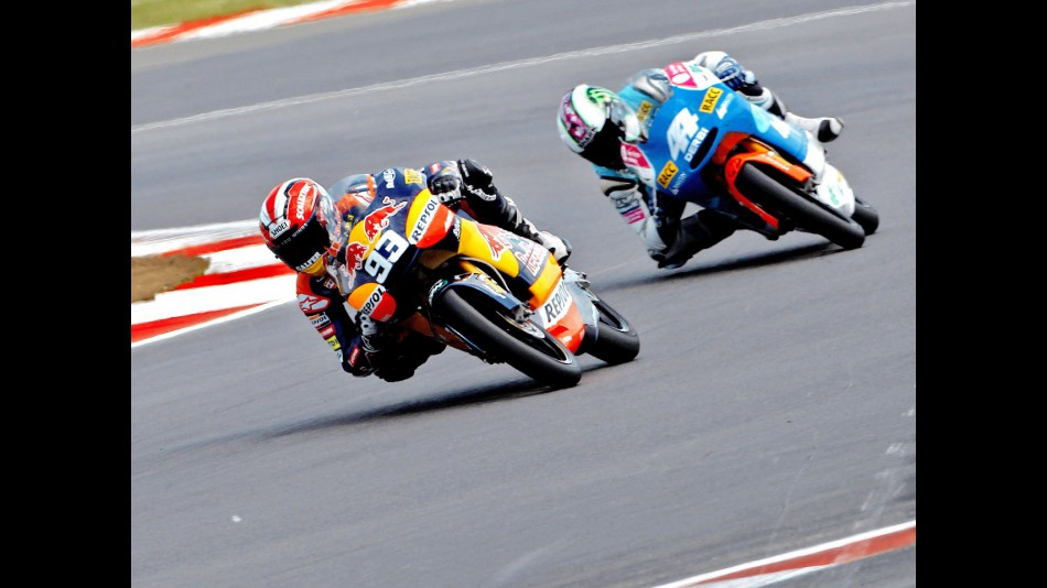 Marquez riding ahead of Espargaró during the race at Silverstone